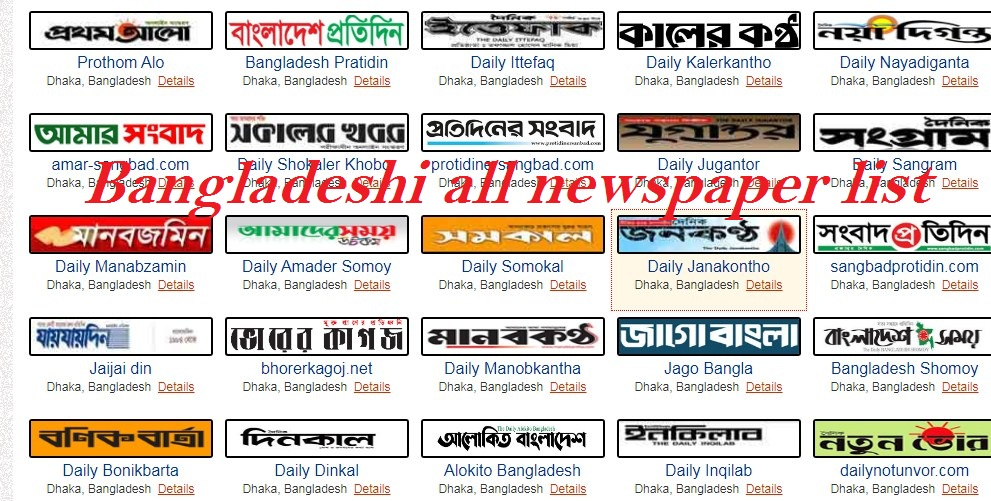 Bangladesh all newspaper list
