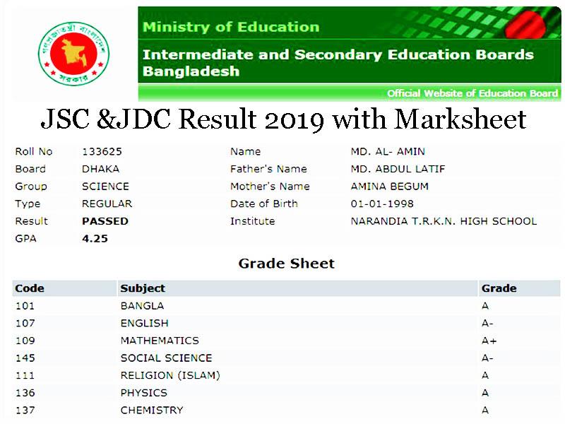 JSC & JDC Result 2019