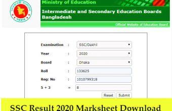 SSC Result 2020 Marksheet Download | All Board