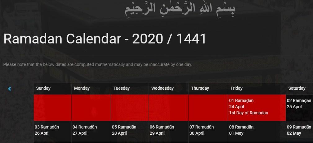 Ramadan Calendar Pakistan 2020
