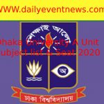 Dhaka University A Unit Subject list, Faculty,Seat 2020