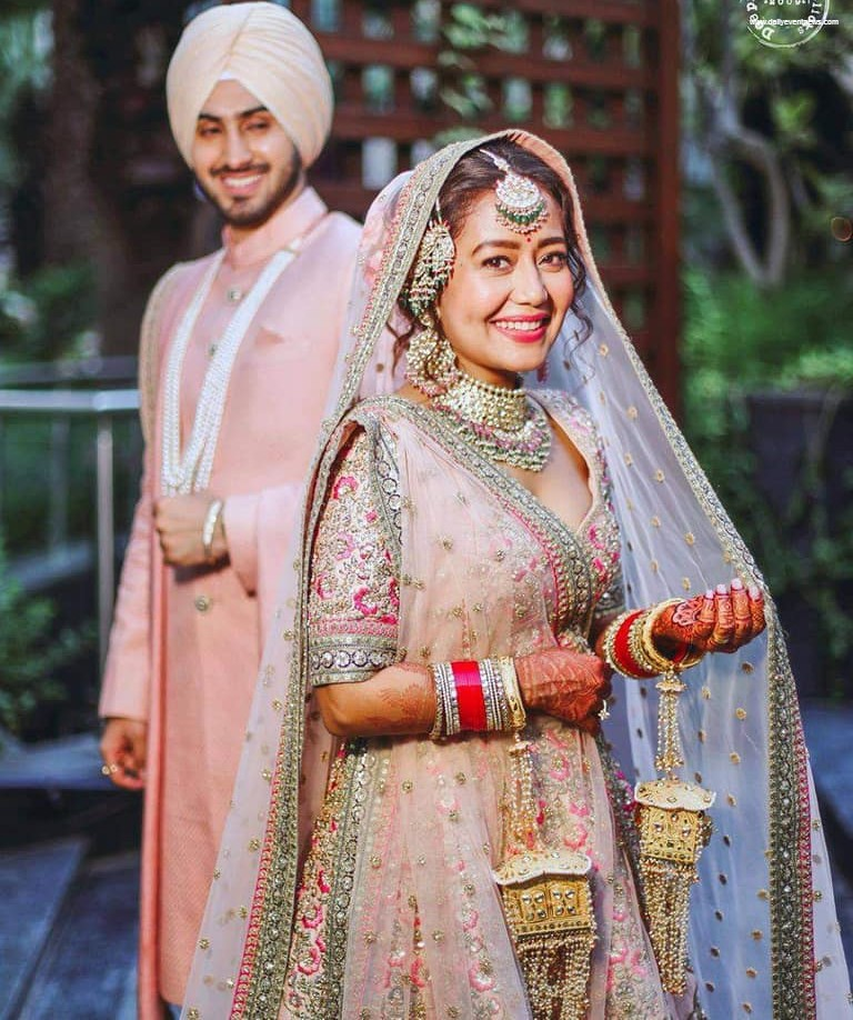 Beautiful bride Neha Kakkar with her hubby Rohanpreet Singh
