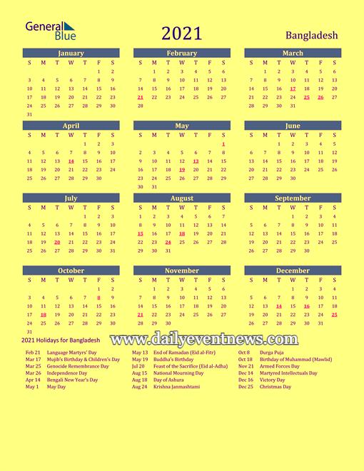 calendar 2021 bd
