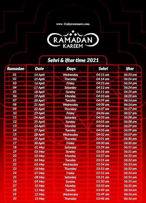 ramadan time table 2021