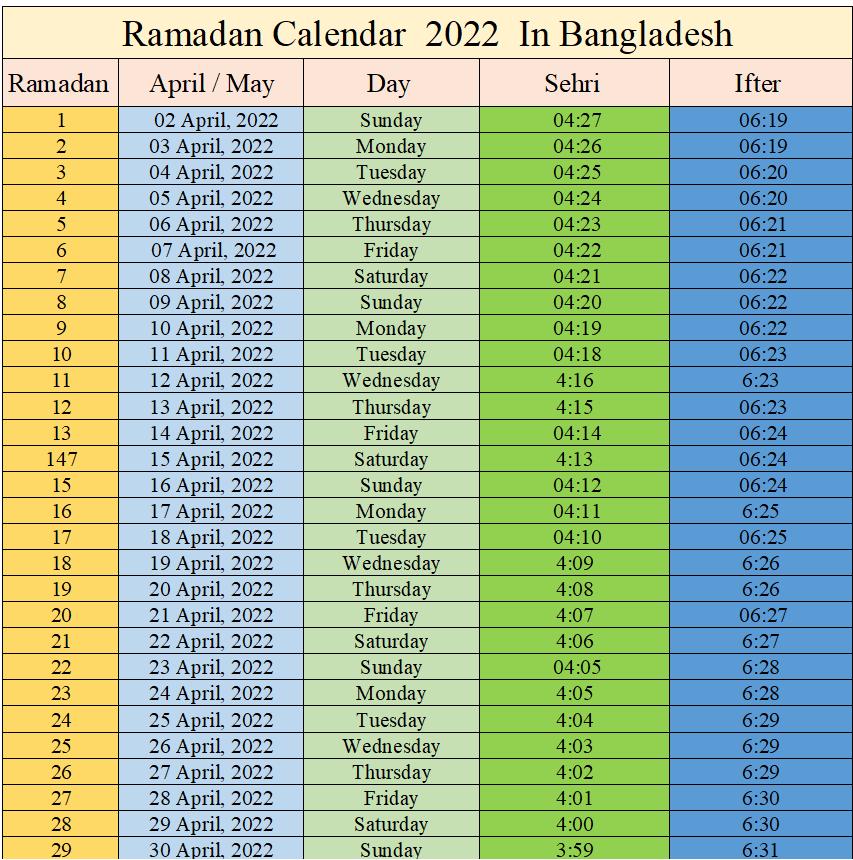 Ramadan Calendar 2022 BD